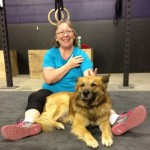 warming up with Rusty the gym dog